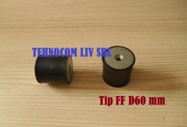 Tampon cauciuc Ø60 mm cu 2 gauri filetate