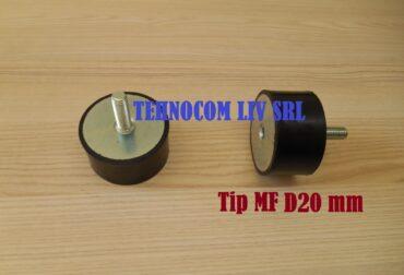 Tampon cauciuc D20 mm cu surub M6 mm
