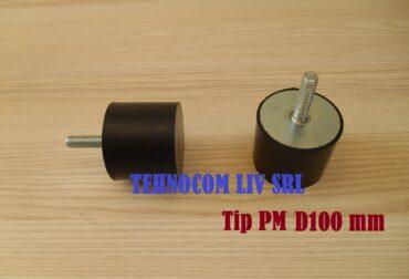 Tampon cauciuc cu surub Ø100 pentru amortizarea vibratiilor
