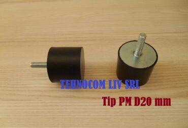 Amortizor vibratii din cauciuc Ø 20 mm cu surub M6