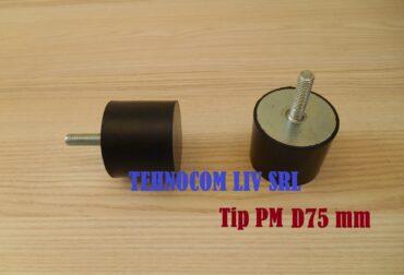 Tampon cilindric din cauciuc cu surub Ø75