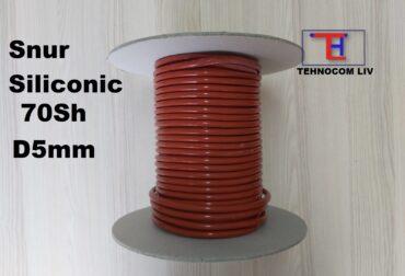 Snur cauciuc MVQ siliconic rosu Diam5mm
