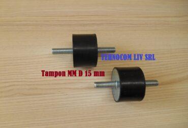 Tampon cauciuc cu 2 suruburi amortizare D 15 mm