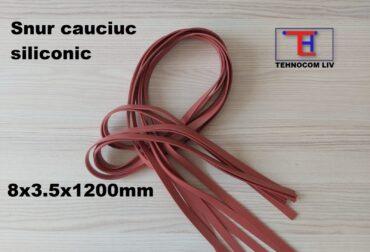 Snururi cauciuc siliconic MVQ dreptunghiular 8x3.5x1200mm